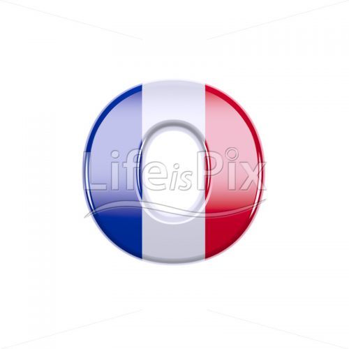 Flag of France letter O – Lowercase 3d character – Royalty free stock photos, illustrations and 3d letters fonts