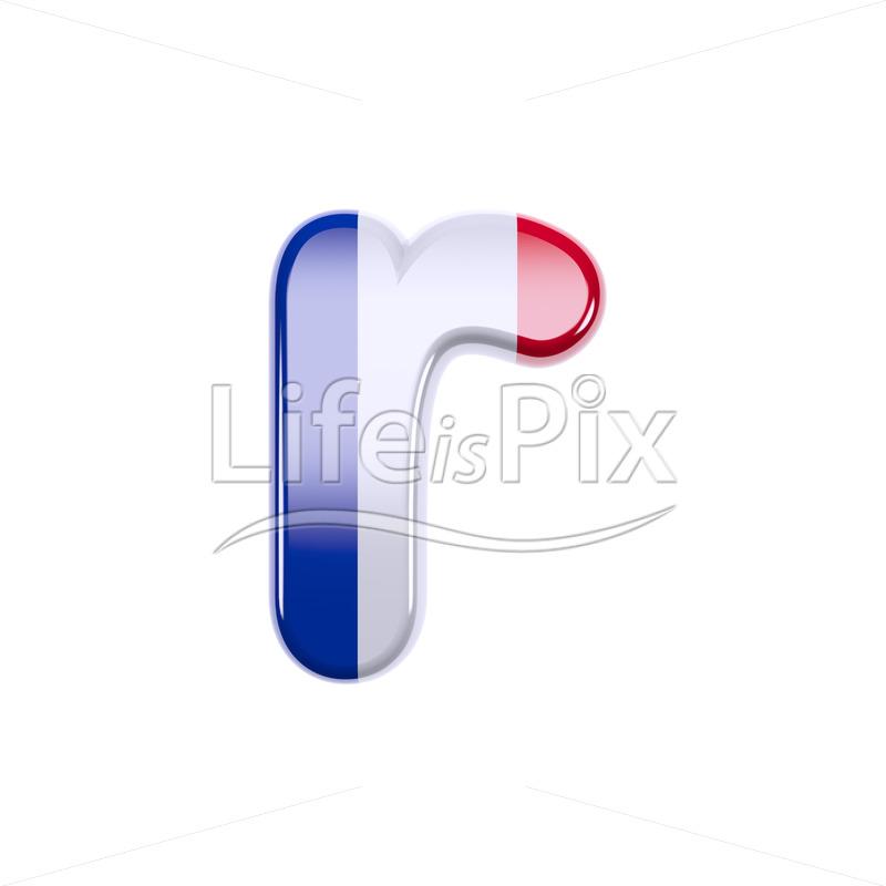 Flag of France letter R - Small 3d font