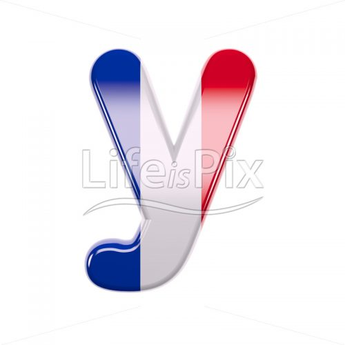 Flag of France letter Y – Lowercase 3d font – Royalty free stock photos, illustrations and 3d letters fonts