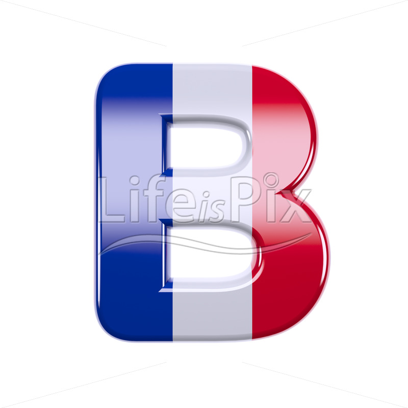 France letter B – large 3d character - Royalty free stock photos, illustrations and 3d letters fonts