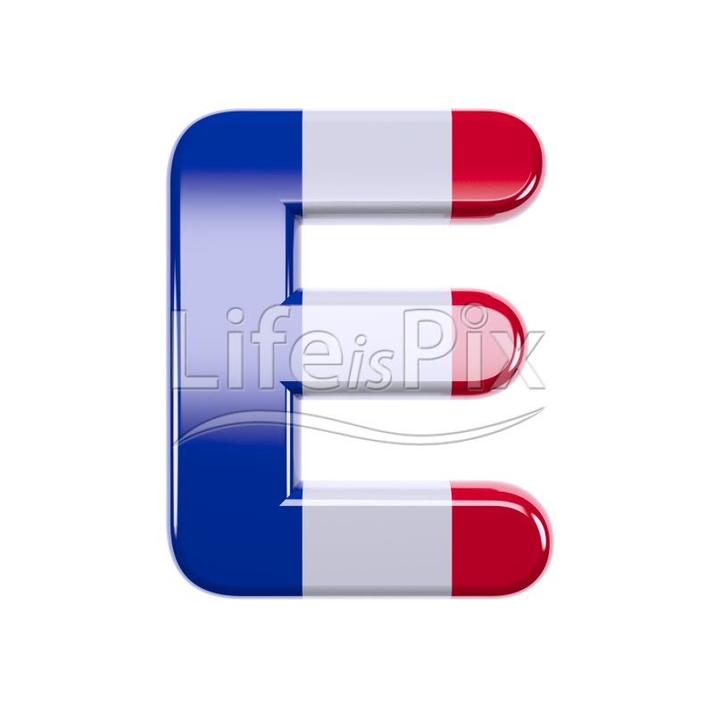 France letter E – large 3d font - Royalty free stock photos, illustrations and 3d letters fonts