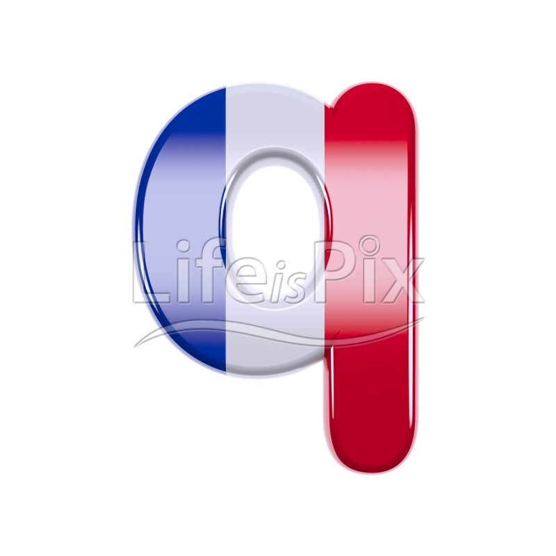 France letter Q – Small 3d character – Royalty free stock photos, illustrations and 3d letters fonts
