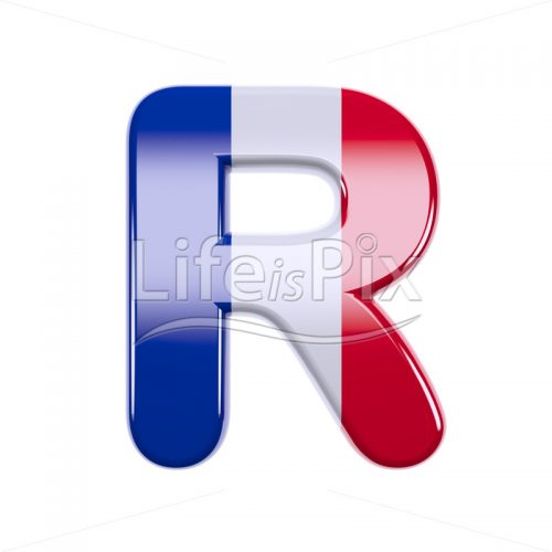 France letter R – Capital 3d character – Royalty free stock photos, illustrations and 3d letters fonts