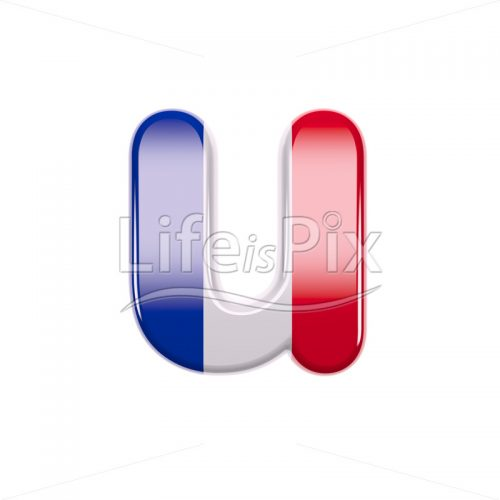 France letter U – Lower-case 3d font – Royalty free stock photos, illustrations and 3d letters fonts