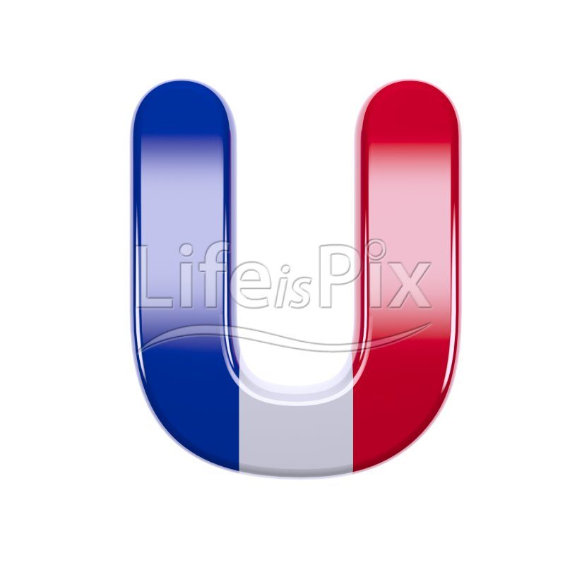 France letter U – Upper-case 3d character – Royalty free stock photos, illustrations and 3d letters fonts