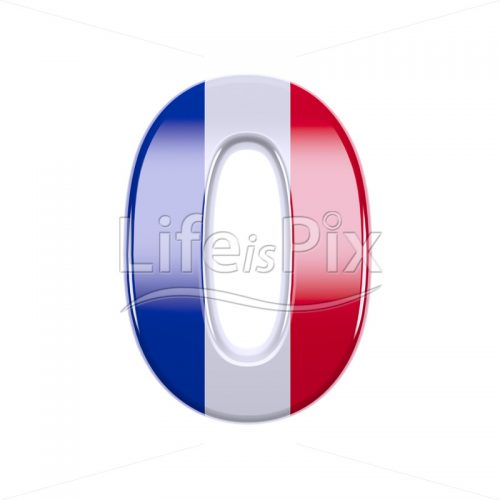 French flag digit 0 –  3d numeral – Royalty free stock photos, illustrations and 3d letters fonts