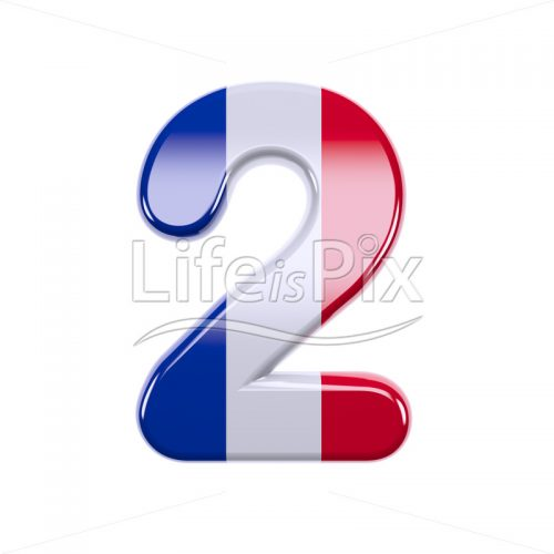 French flag digit 2 –  3d numeral – Royalty free stock photos, illustrations and 3d letters fonts