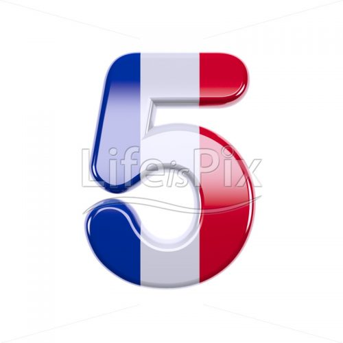 French flag digit 5 –  3d numeral – Royalty free stock photos, illustrations and 3d letters fonts