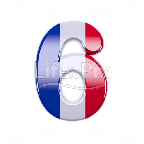 French flag digit 6 –  3d numeral – Royalty free stock photos, illustrations and 3d letters fonts