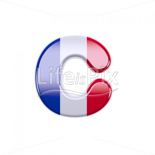 French flag font C – Small 3d letter – Royalty free stock photos, illustrations and 3d letters fonts