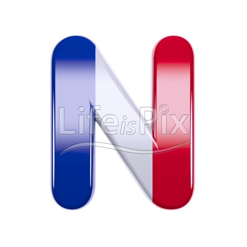 French flag letter N – Uppercase 3d character – Royalty free stock photos, illustrations and 3d letters fonts