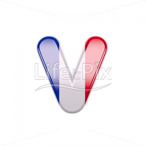 French flag letter V – Lowercase 3d character – Royalty free stock photos, illustrations and 3d letters fonts