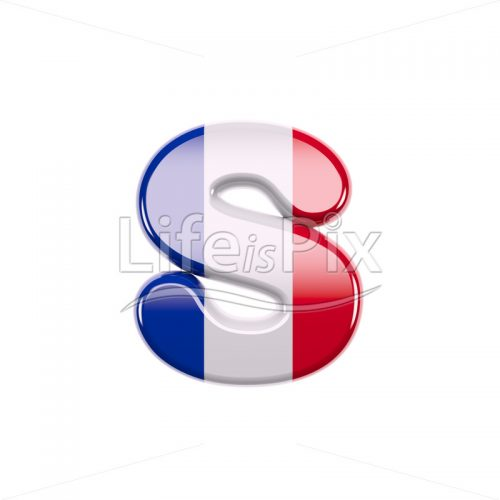 French font S – Lower-case 3d character – Royalty free stock photos, illustrations and 3d letters fonts
