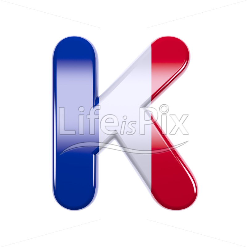 French letter K – Large 3d character - Royalty free stock photos, illustrations and 3d letters fonts