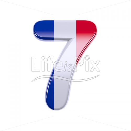 French flag digit 7 –  3d numeral – Royalty free stock photos, illustrations and 3d letters fonts