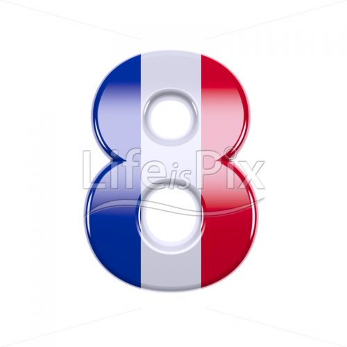 French flag digit 8 –  3d numeral – Royalty free stock photos, illustrations and 3d letters fonts