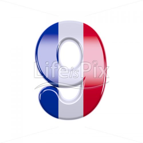 French flag digit 9 –  3d numeral – Royalty free stock photos, illustrations and 3d letters fonts