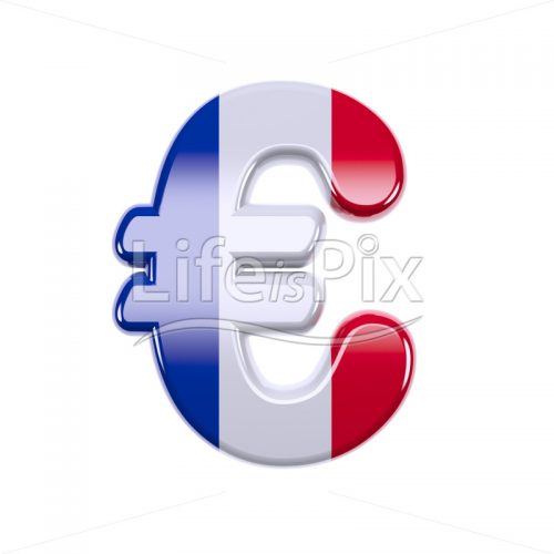 French flag euro currency symbol – 3d Currency symbol – Royalty free stock photos, illustrations and 3d letters fonts