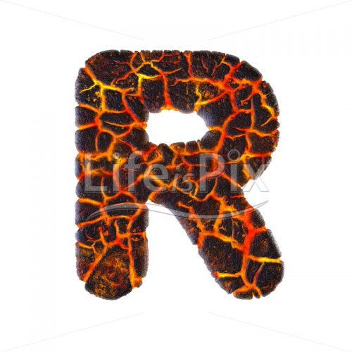 Lava letter R – Capital 3d character – Royalty free stock photos, illustrations and 3d letters fonts