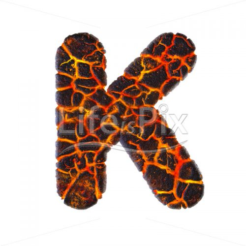 magma letter K – Large 3d character – Royalty free stock photos, illustrations and 3d letters fonts
