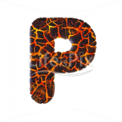 magma letter P – Capital 3d letter – Royalty free stock photos, illustrations and 3d letters fonts