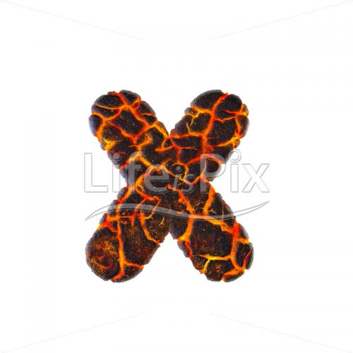 magma letter X – Lower-case 3d character – Royalty free stock photos, illustrations and 3d letters fonts