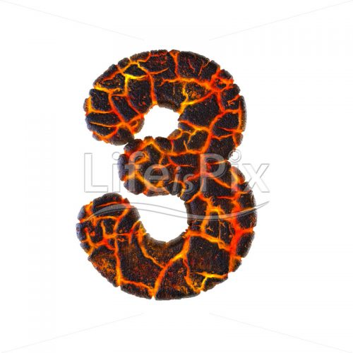 Molten rock digit 3 –  3d numeral – Royalty free stock photos, illustrations and 3d letters fonts