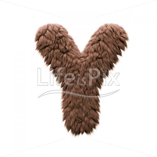 Sasquatch character Y – large 3d letter – Royalty free stock photos, illustrations and 3d letters fonts