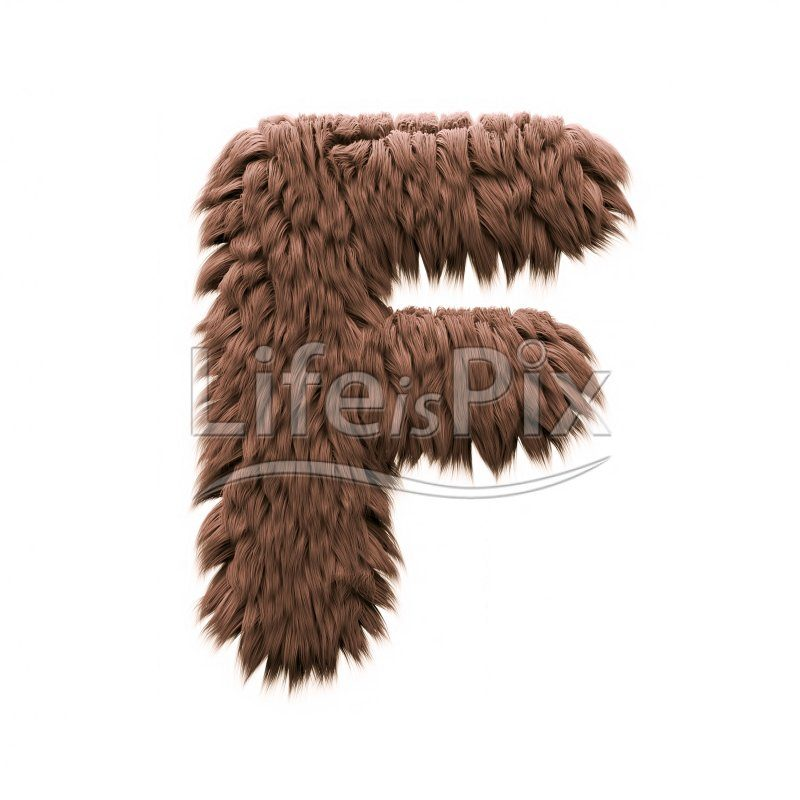 Sasquatch letter F – Capital 3d character – Royalty free stock photos, illustrations and 3d letters fonts
