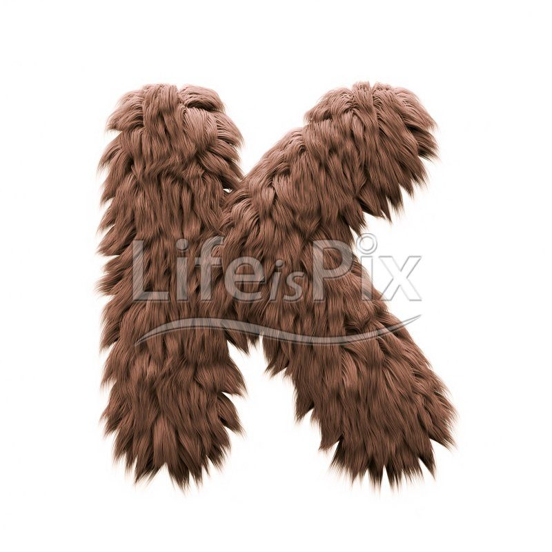 Sasquatch letter K – Large 3d character – Royalty free stock photos, illustrations and 3d letters fonts
