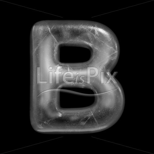Ice letter B – large 3d character – Royalty free stock photos, illustrations and 3d letters fonts