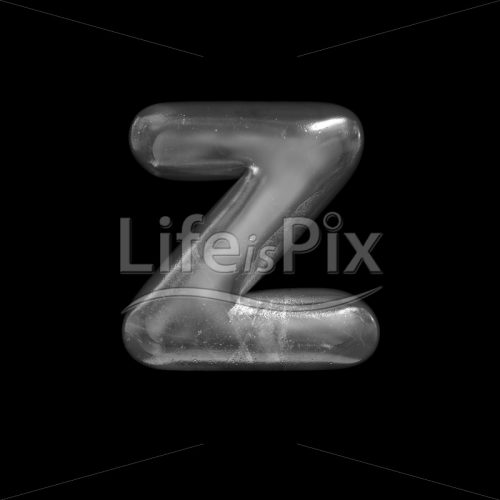 Ice font Z – Small 3d letter – Royalty free stock photos, illustrations and 3d letters fonts