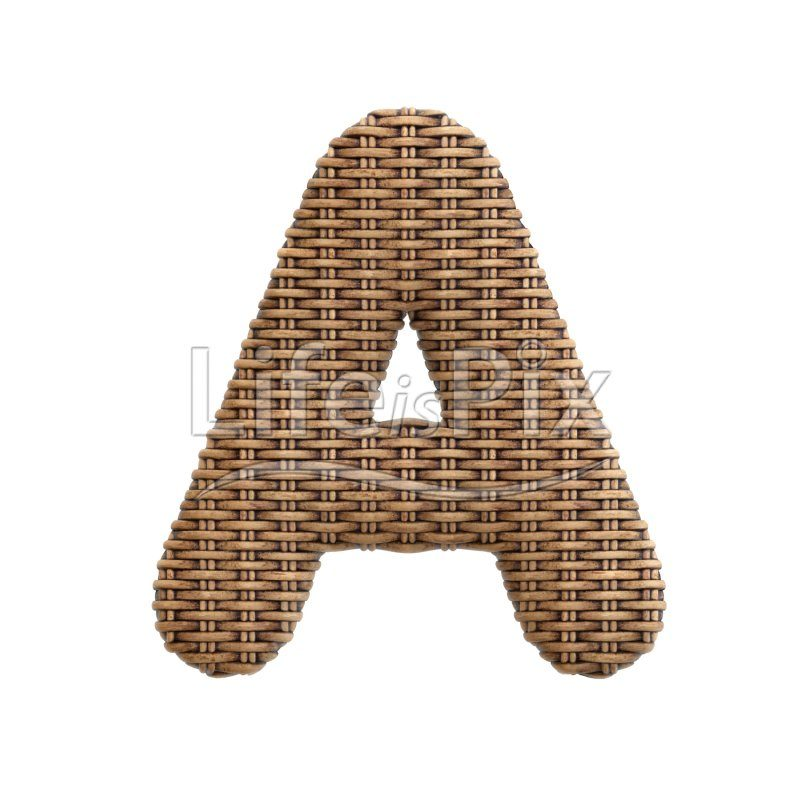 rattan basket letter A – Uppercase 3d font – Royalty free stock photos, illustrations and 3d letters fonts