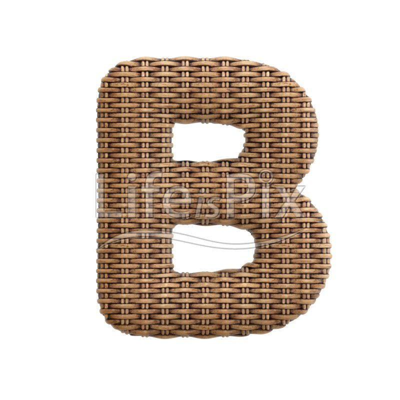 wicker letter B – large 3d character – Royalty free stock photos, illustrations and 3d letters fonts