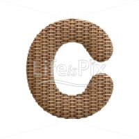 wicker letter C – large 3d character – Royalty free stock photos, illustrations and 3d letters fonts