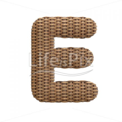 wicker letter E – large 3d font – Royalty free stock photos, illustrations and 3d letters fonts
