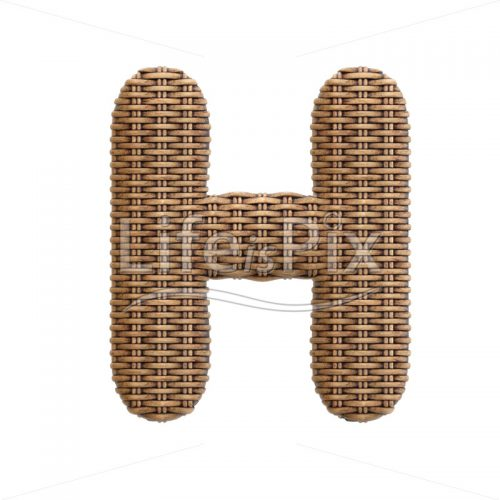 wicker letter H – large 3d font – Royalty free stock photos, illustrations and 3d letters fonts