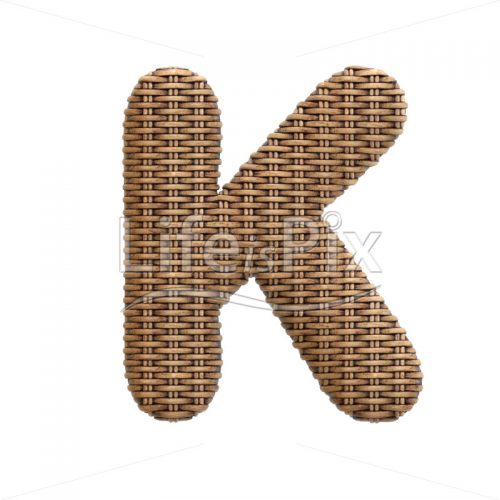 wicker letter K – Large 3d character – Royalty free stock photos, illustrations and 3d letters fonts