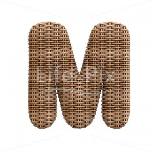 wicker letter M – Upper-case 3d font – Royalty free stock photos, illustrations and 3d letters fonts
