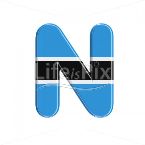 Batswana letter N – Uppercase 3d character – Royalty free stock photos, illustrations and 3d letters fonts