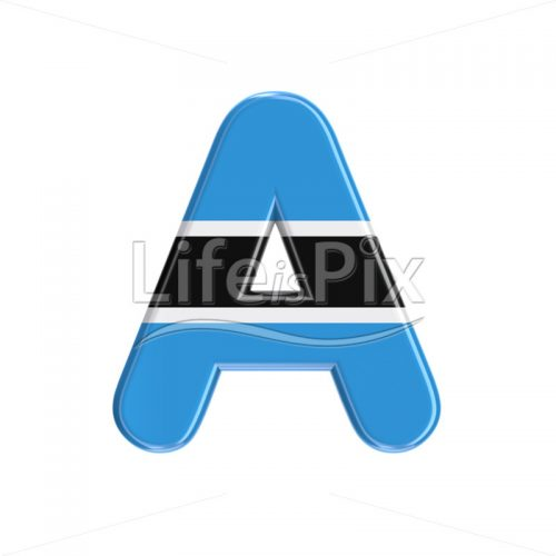 Bostwana letter A – Uppercase 3d font – Royalty free stock photos, illustrations and 3d letters fonts