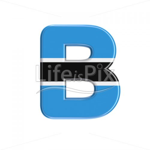Botswana flag letter B – large 3d character – Royalty free stock photos, illustrations and 3d letters fonts