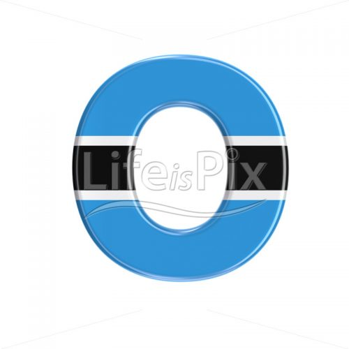 Botswana flag letter O – Capital 3d character – Royalty free stock photos, illustrations and 3d letters fonts