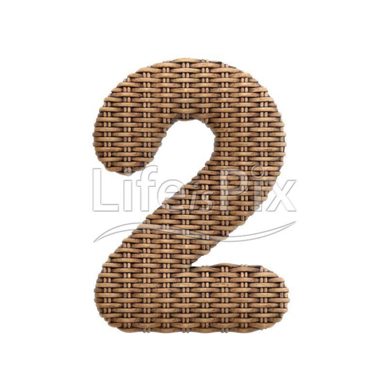 rattan digit 2 –  3d numeral – Royalty free stock photos, illustrations and 3d letters fonts