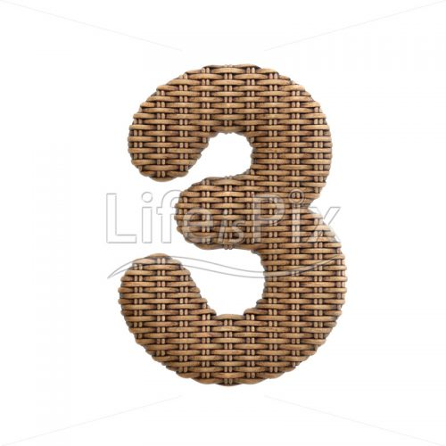 rattan digit 3 –  3d numeral – Royalty free stock photos, illustrations and 3d letters fonts