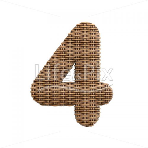 rattan digit 4 –  3d numeral – Royalty free stock photos, illustrations and 3d letters fonts