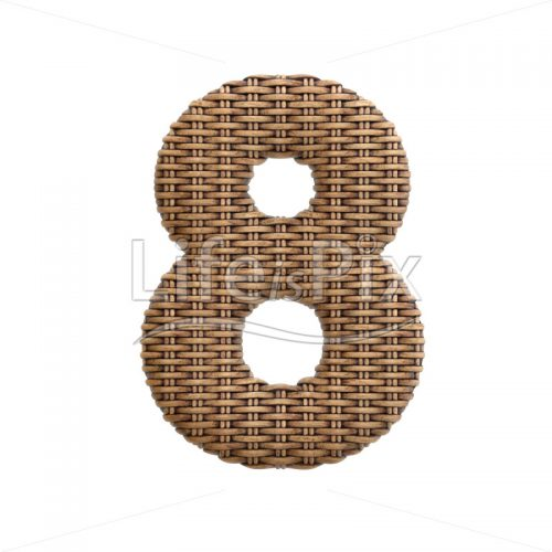 rattan digit 8 –  3d numeral – Royalty free stock photos, illustrations and 3d letters fonts