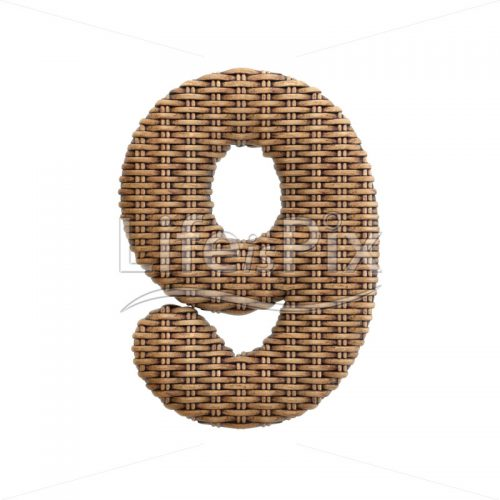 rattan digit 9 –  3d numeral – Royalty free stock photos, illustrations and 3d letters fonts