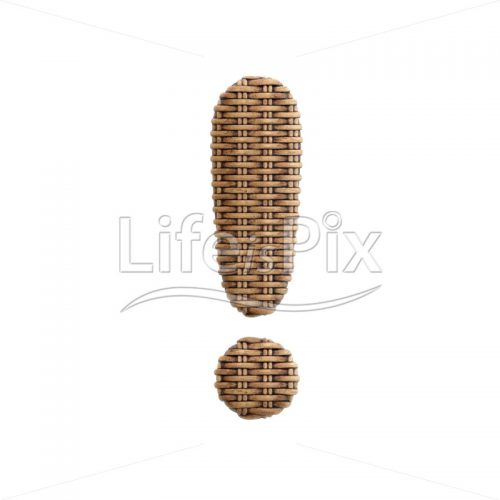 rattan exclamation point – 3d symbol – Royalty free stock photos, illustrations and 3d letters fonts