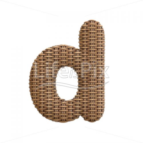wicker font D – Small 3d character – Royalty free stock photos, illustrations and 3d letters fonts
